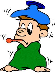 postać rysunkowa z termometrem w buzi