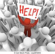 """ikona człowieka trzymającego napis """"help"""""""